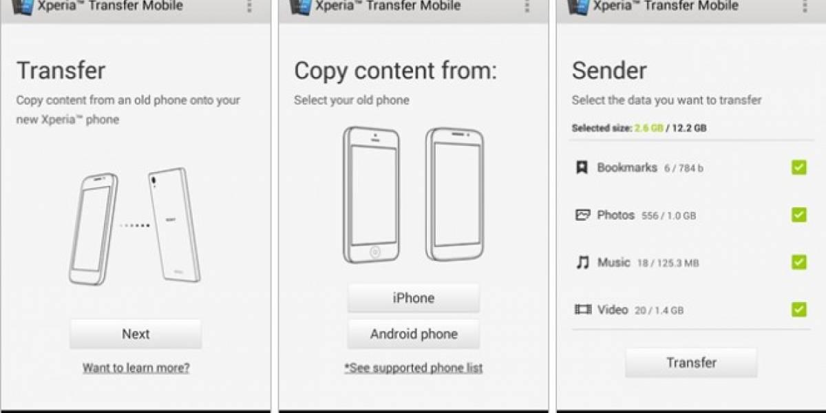 Sony lanza nueva app Xperia Transfer Mobile