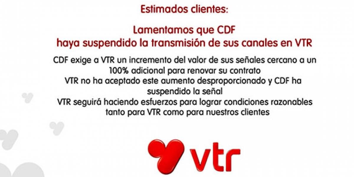 Chile: Clientes de VTR se quedan sin el Canal del Fútbol (CDF)
