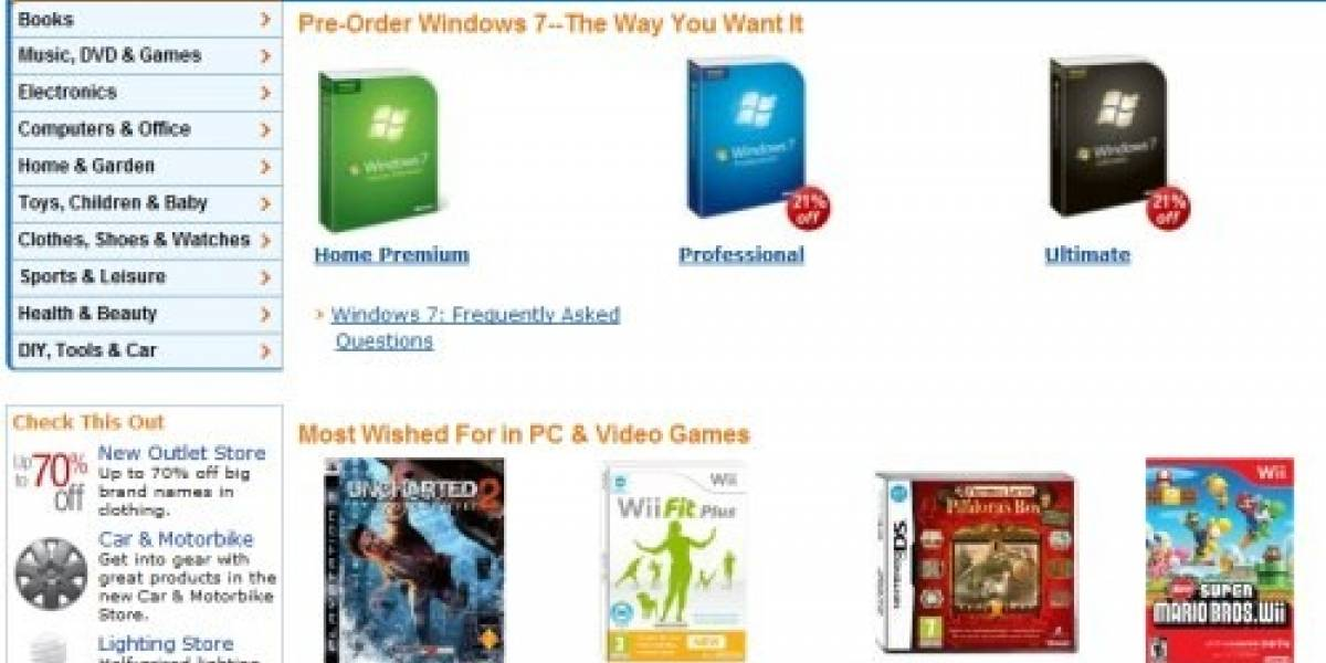Windows 7 se toma los primeros lugares de Amazon