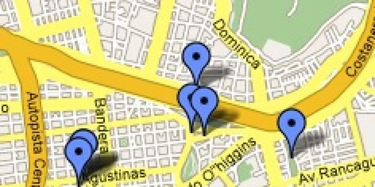 Google Map con Cafés con Wifi en Santiago de Chile