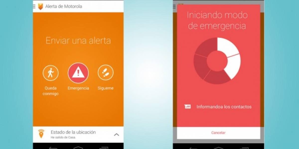 Alerta de Motorola, envía mensaje de emergencia a un contacto