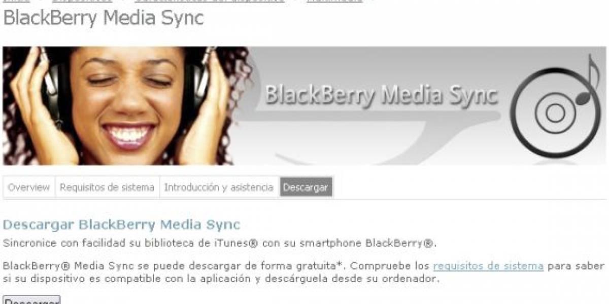 Actualización de BlackBerry Media Sync