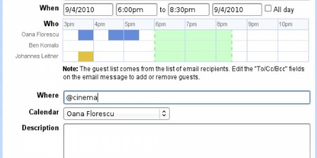 Gmail permite insertar calendarios