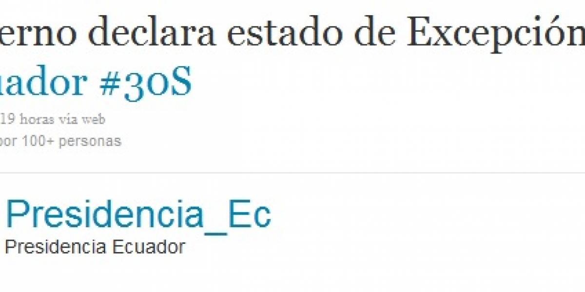Gobierno de Ecuador anunció Estado de Excepción vía Twitter
