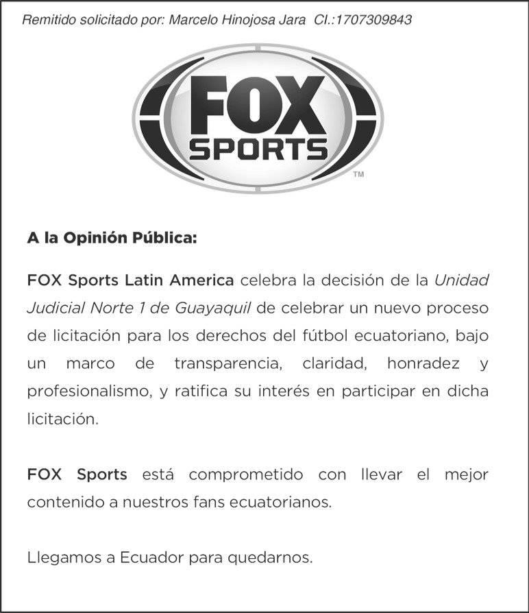 Fox Sports podría transmitir Campeonato Ecuatoriano