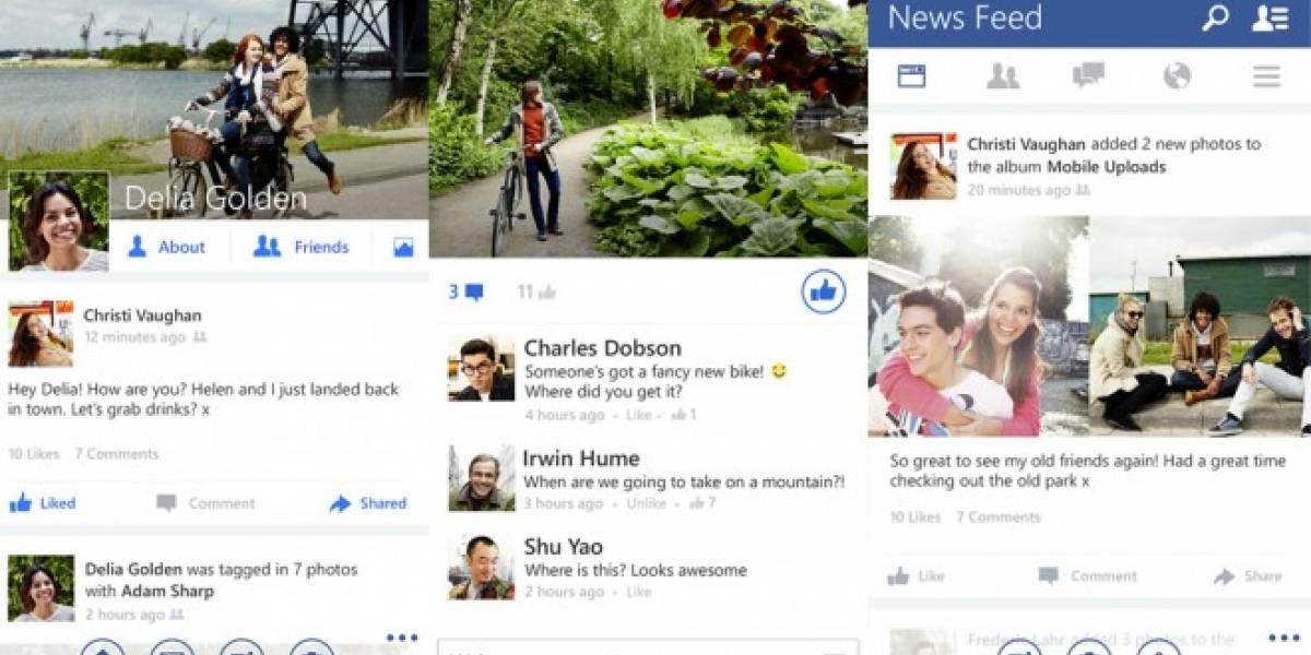 Facebook para Windows Phone ahora incorpora diseño y funciones de versión Beta