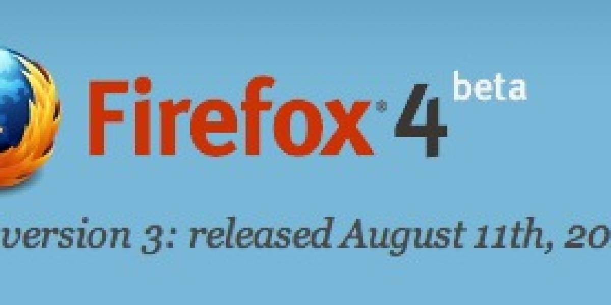 Mozilla lanza tercer beta de Firefox 4