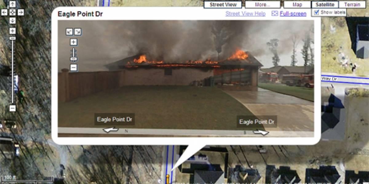 Casa en llamas en Google Street View