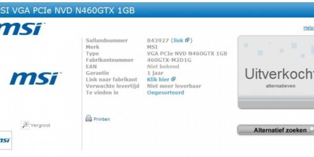NVIDIA GeForce GTX 460 ya tiene pre-venta