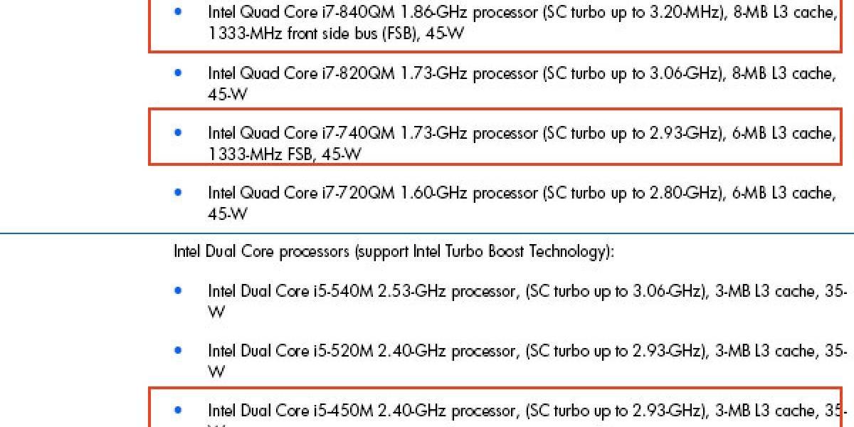 HP revela nuevos procesadores móviles Core i5 e i7