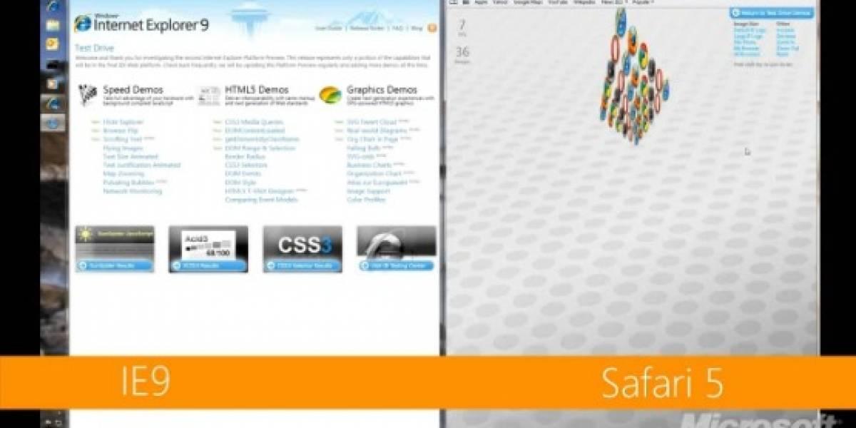 Internet Explorer 9 sería mejor que Safari 5