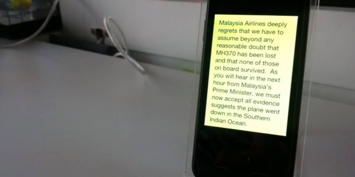 Malaysia Airlines anuncia vía SMS la pérdida del vuelo MH370
