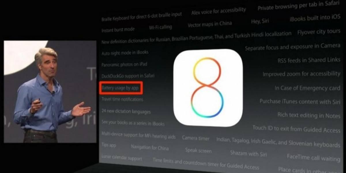 iOS 8 te dirá que aplicación está matando tu batería