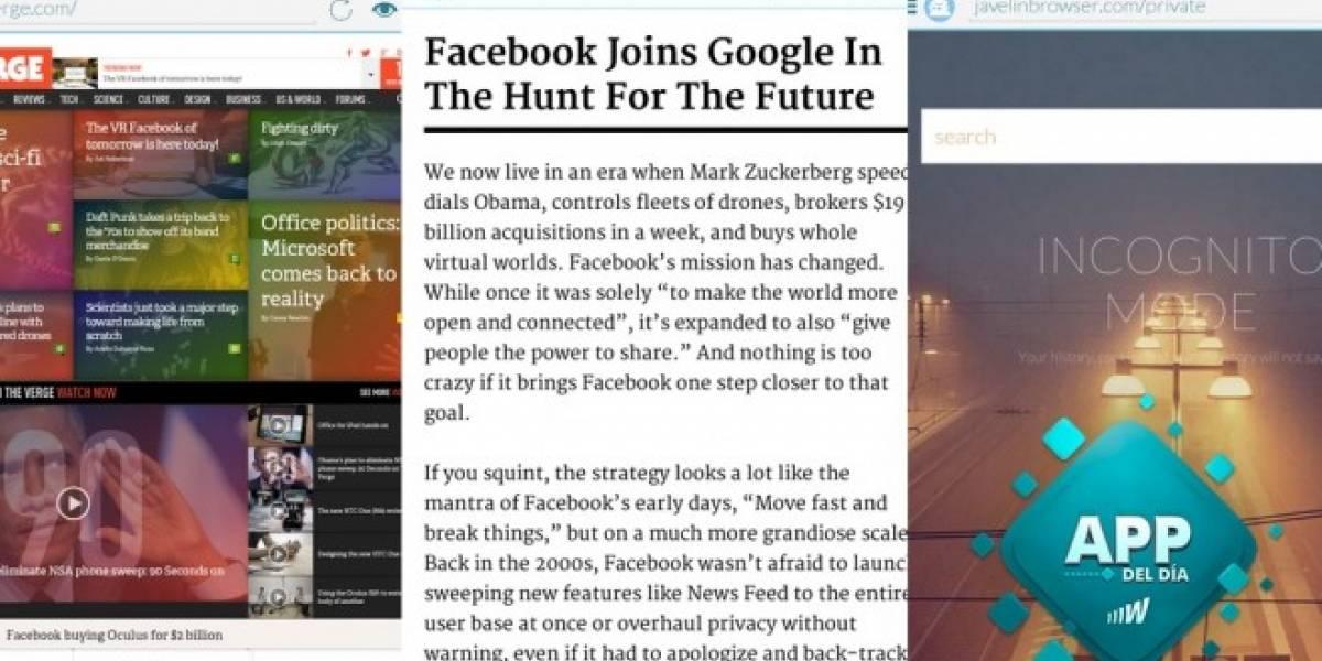 Javelin, un navegador multitarea que abre enlaces en burbujas flotantes [App del día]