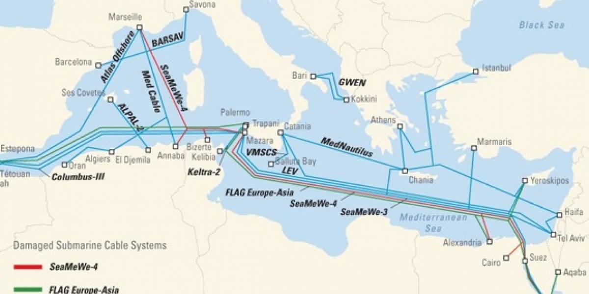 Corte en cables submarinos afecta comunicaciones entre Europa y Asia