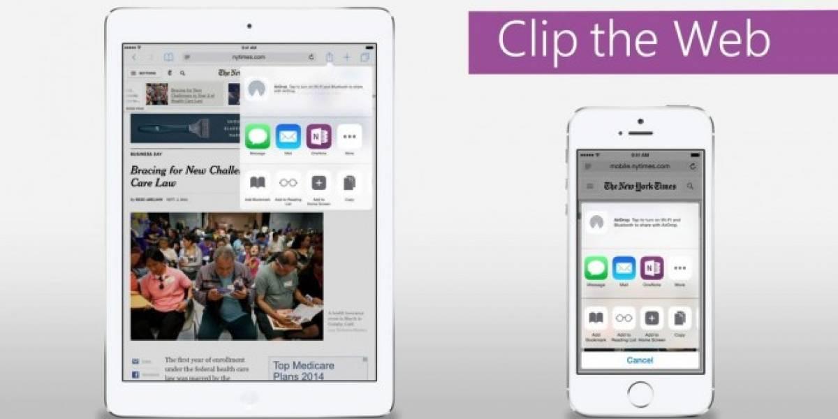 OneNote se actualiza y ofrece soporte para iOS 8 y Android Wear