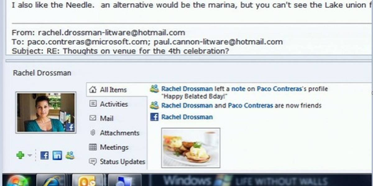 Outlook ahora se conecta con Facebook