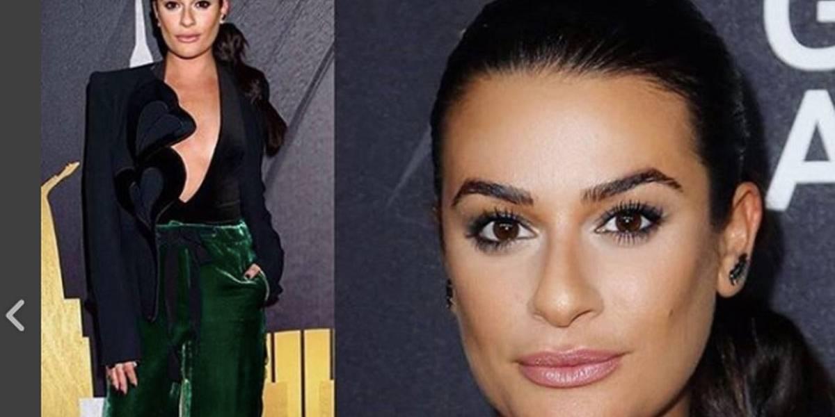 Com um vasto decote, Lea Michele causou na festa pré-Grammy