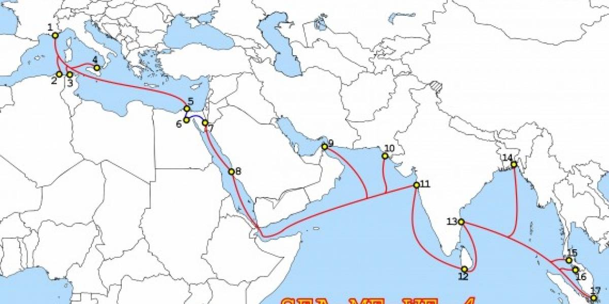 Falla en cable submarino causa problemas con internet en Asia y Medio Oriente