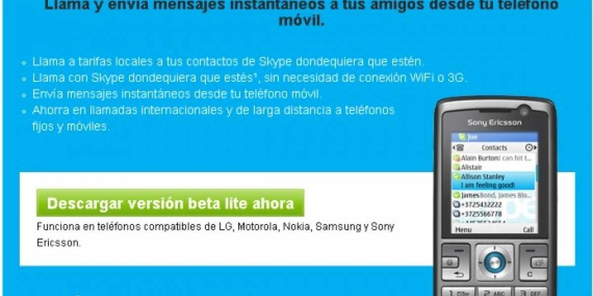 Skype Lite para Android y para equipos compatibles con Java