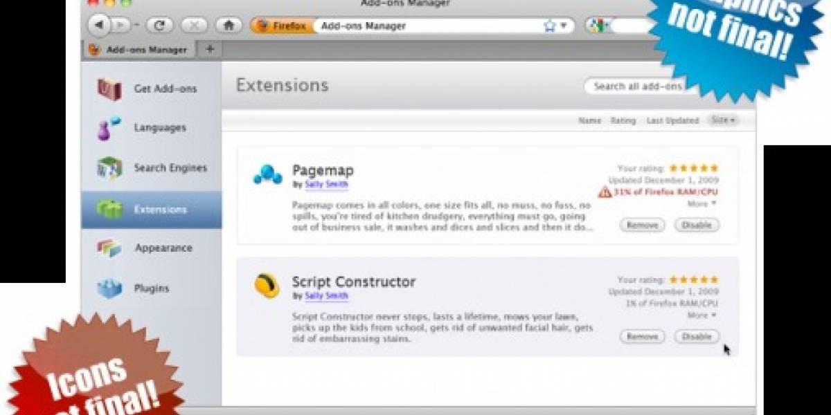 Mozilla Firefox presenta su nuevo administrador de addons