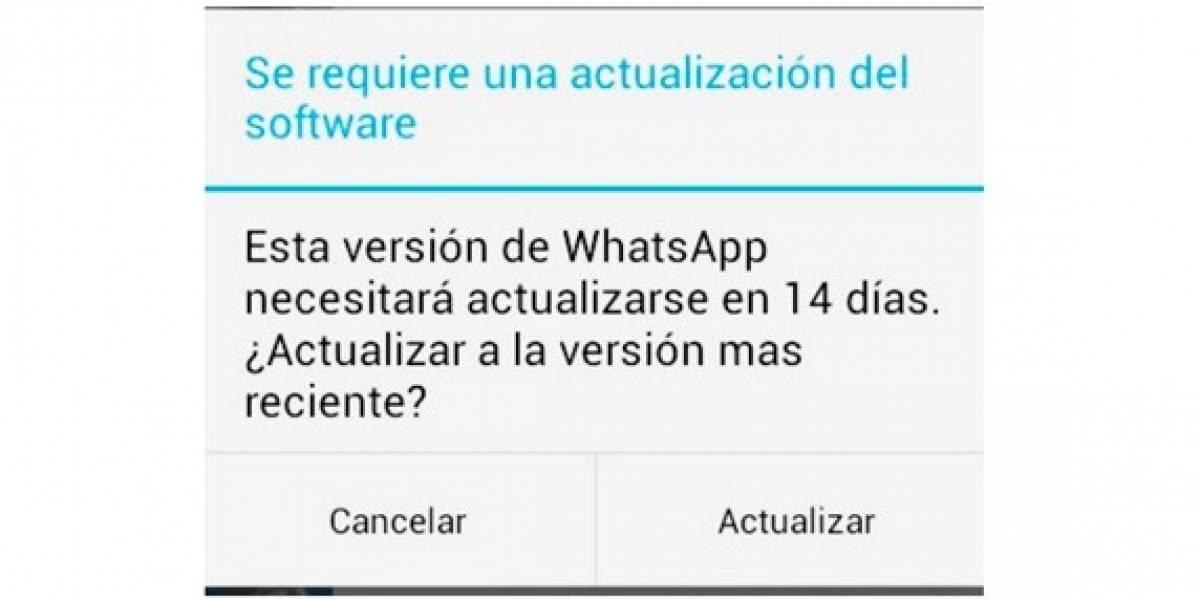 WhatsApp está notificando de una actualización que no existe en Android
