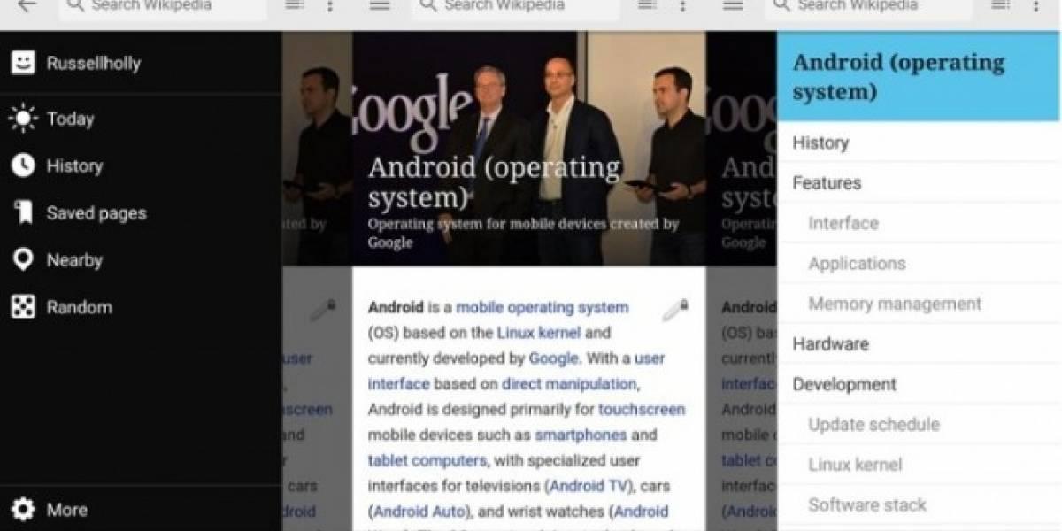 Wikipedia se actualiza para Android agregando Material Design