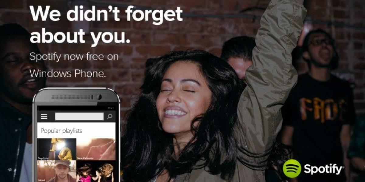 Spotify ahora también es gratis en Windows Phone