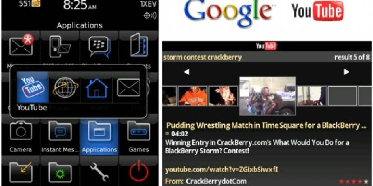 Cliente de YouTube para BlackBerry Storm
