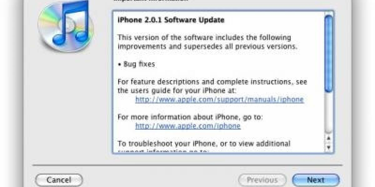 Firmware 2.0.1 para el iPhone y el iPod Touch disponible