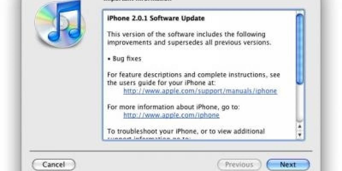 Firmware 2.0.1 para el iPhone y el iPod Touch disponible