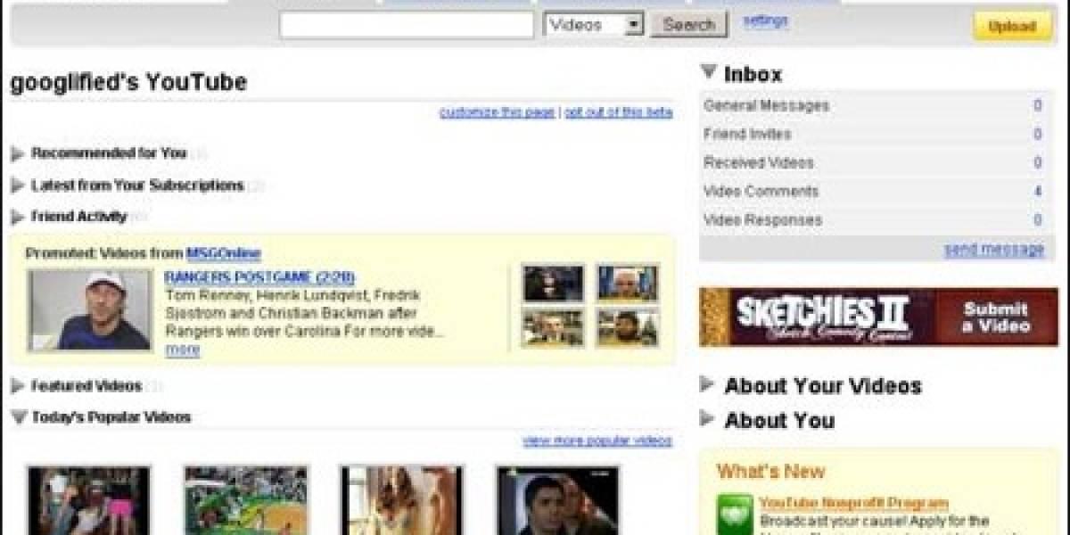YouTube ahora tiene homepage personalizada (beta)