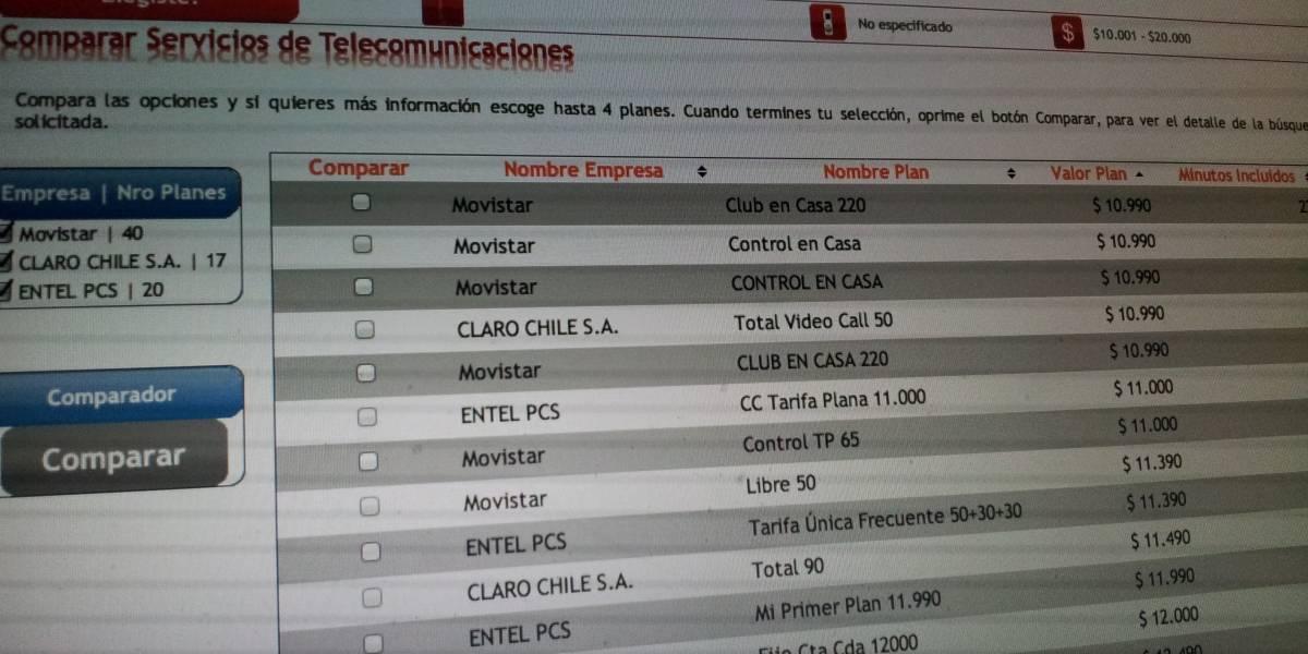 Chile: SUBTEL lanza portal que permite comparar planes de telefonía, TV e Internet