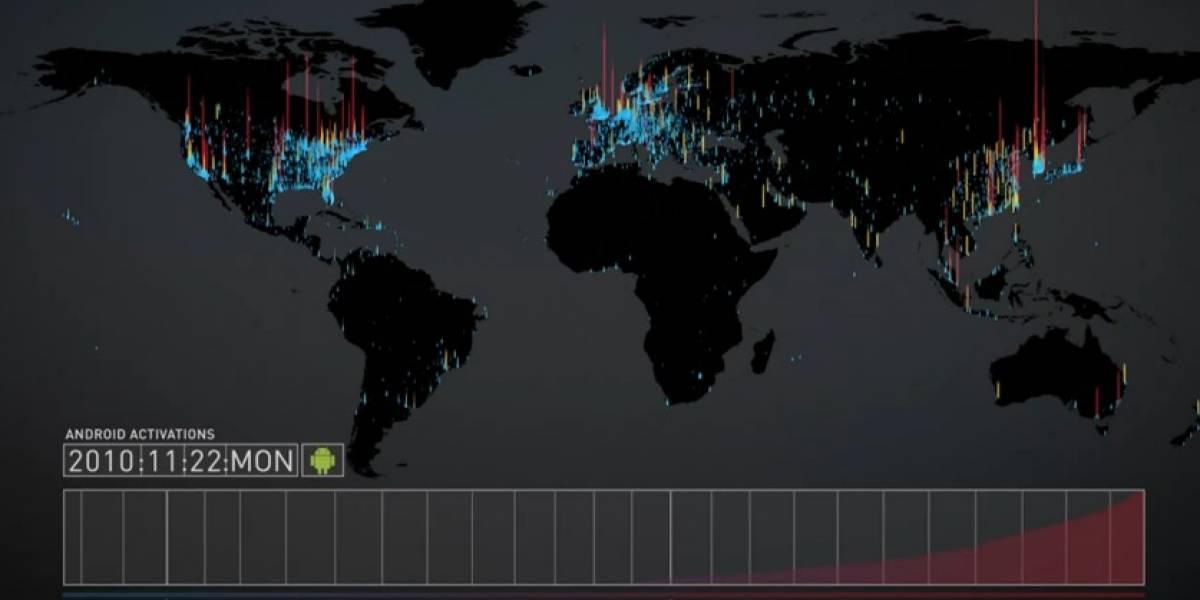 Increíble video de activaciones de móviles Android alrededor del mundo