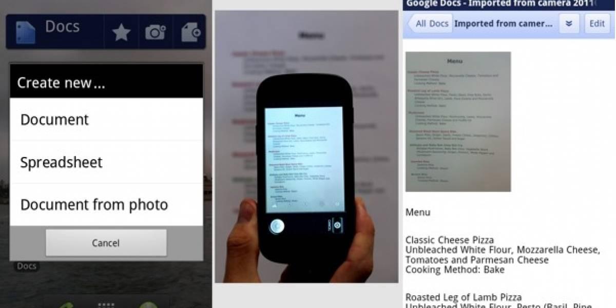 Lanzan aplicación de Google Docs para Android con captura de texto