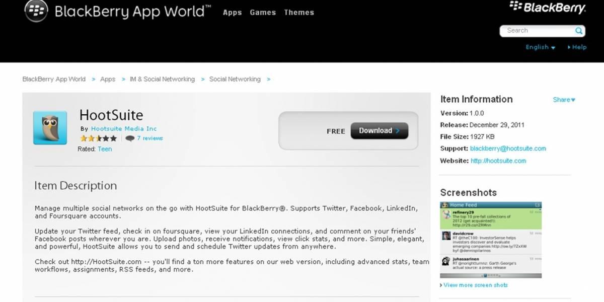 Hootsuite tiene app oficial para Blackberry