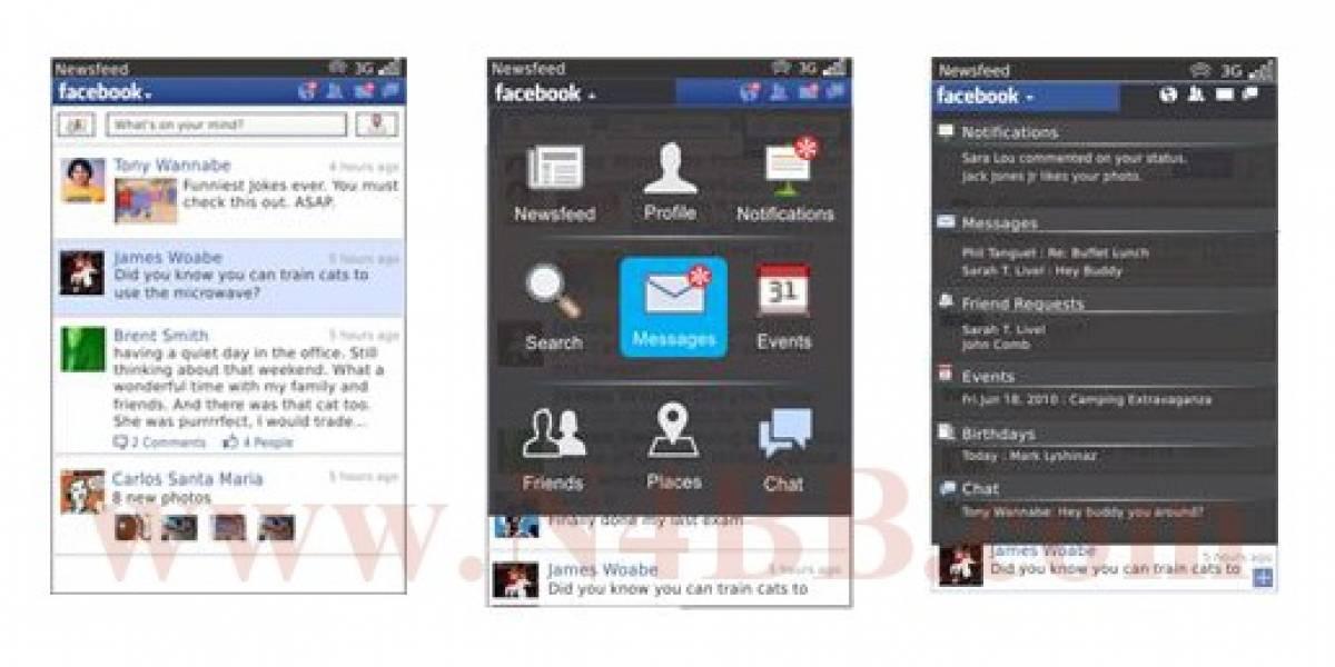 Filtradas las primeras capturas de Facebook 2.0 para BlackBerry