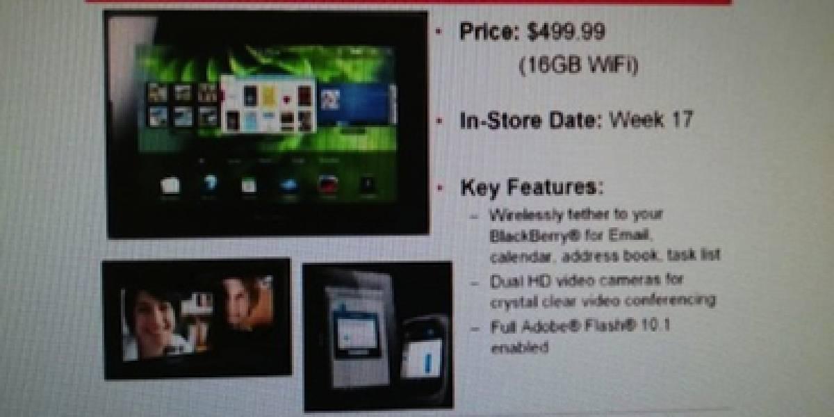 BlackBerry PlayBook WiFi 16GB apareció con precio en lista de Office Depot
