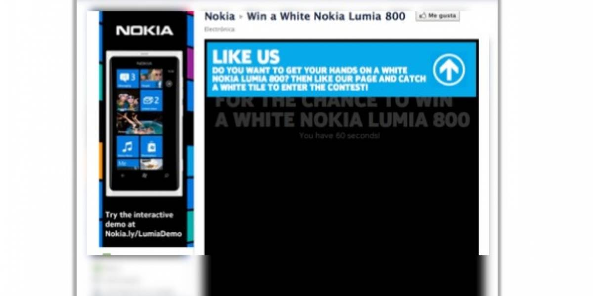 Nokia regala cinco Lumia 800 blancos en Facebook