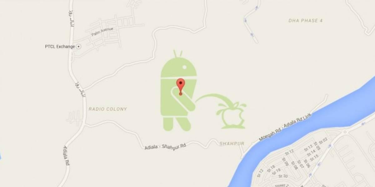 Encuentran a Android orinando sobre el logo de Apple en Google Maps [Actualizado]