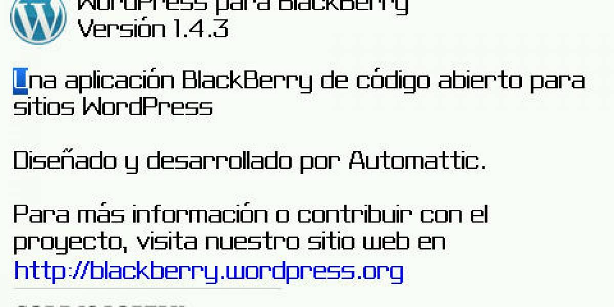 WordPress para BlackBerry se actualiza a la versión 1.4.3