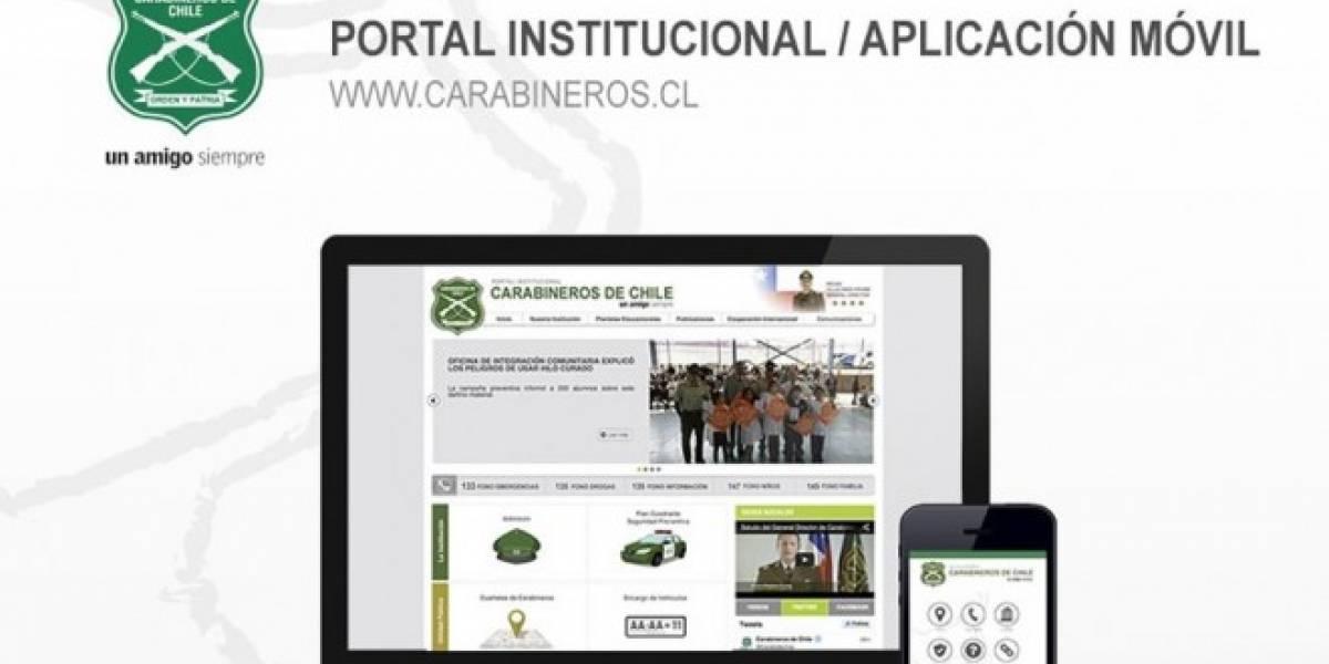 Carabineros lanza nuevo sitio web y aplicación para celulares