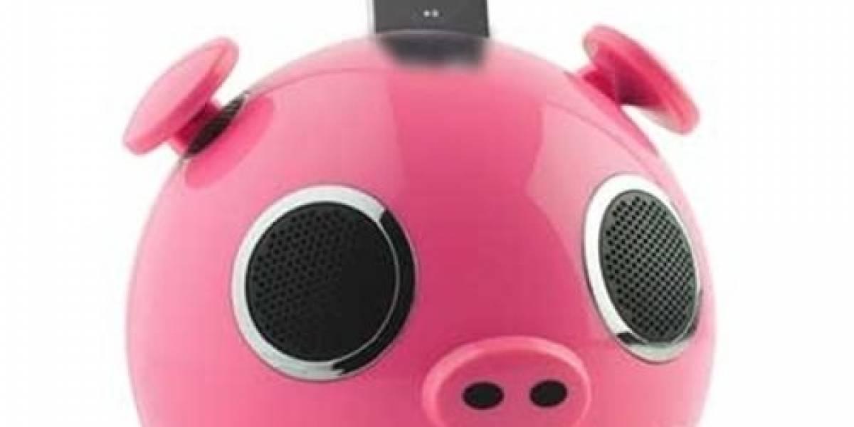 Unos interesantes altavoces en forma de cochinito rosa para el iPod