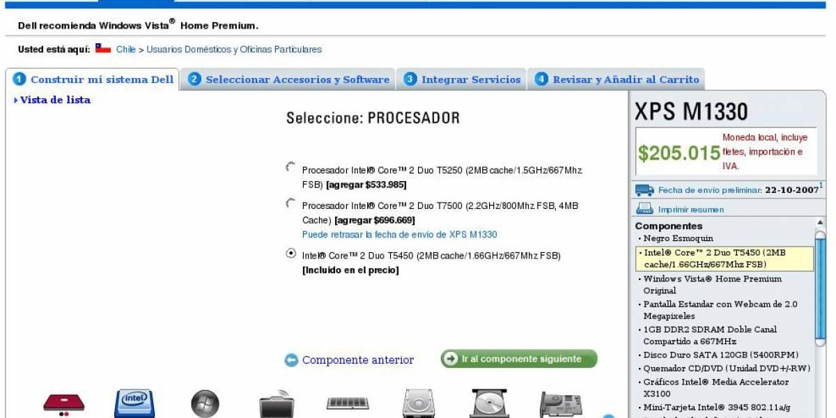 Compra un Dell XPS M1330 nuevo por US$410 (IVA incluido)