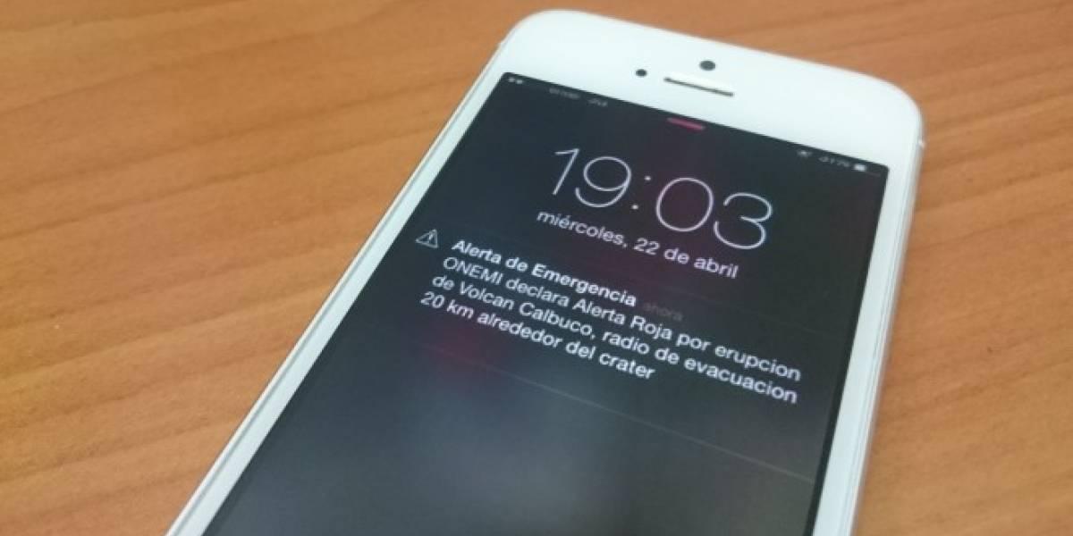 Alertas de Emergencia (SAE) debutaron en iOS tras erupción del Volcán Calbuco