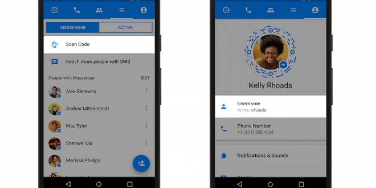 Facebook habilita nombres de usuario y códigos escaneables en Messenger