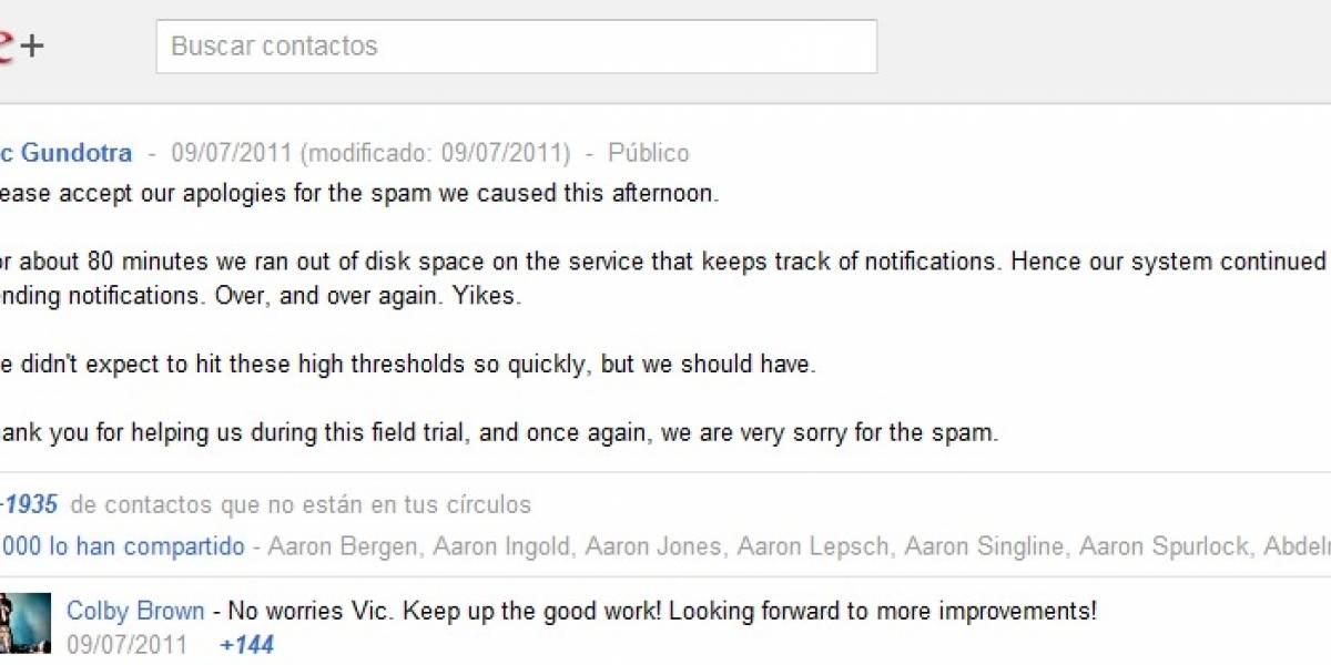 Se le acabó el espacio en el disco duro a Google+