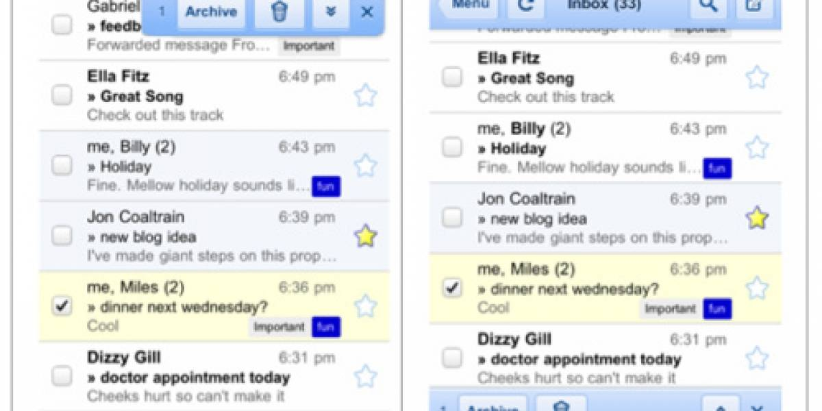 Google da unos interesantes retoques a Gmail para iPhone