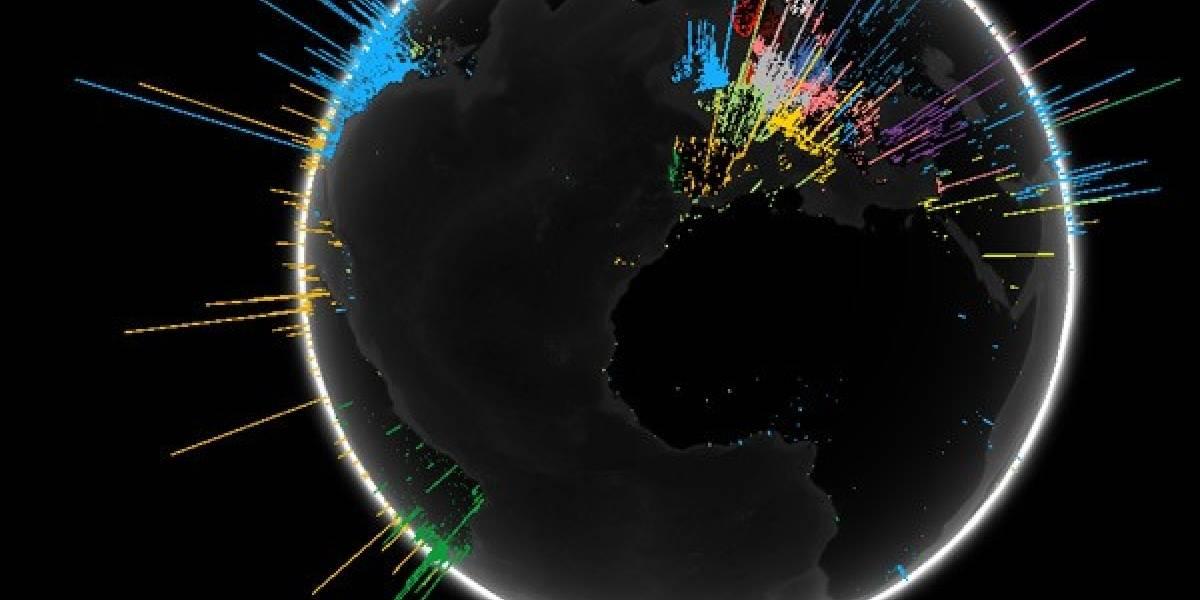 Google crea animación 3D que muestra la cantidad de búsquedas alrededor del mundo