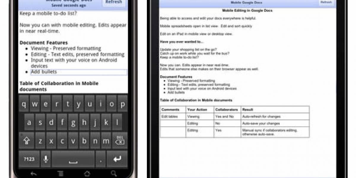 Ya es posible utilizar Google Docs con iPhones y Android